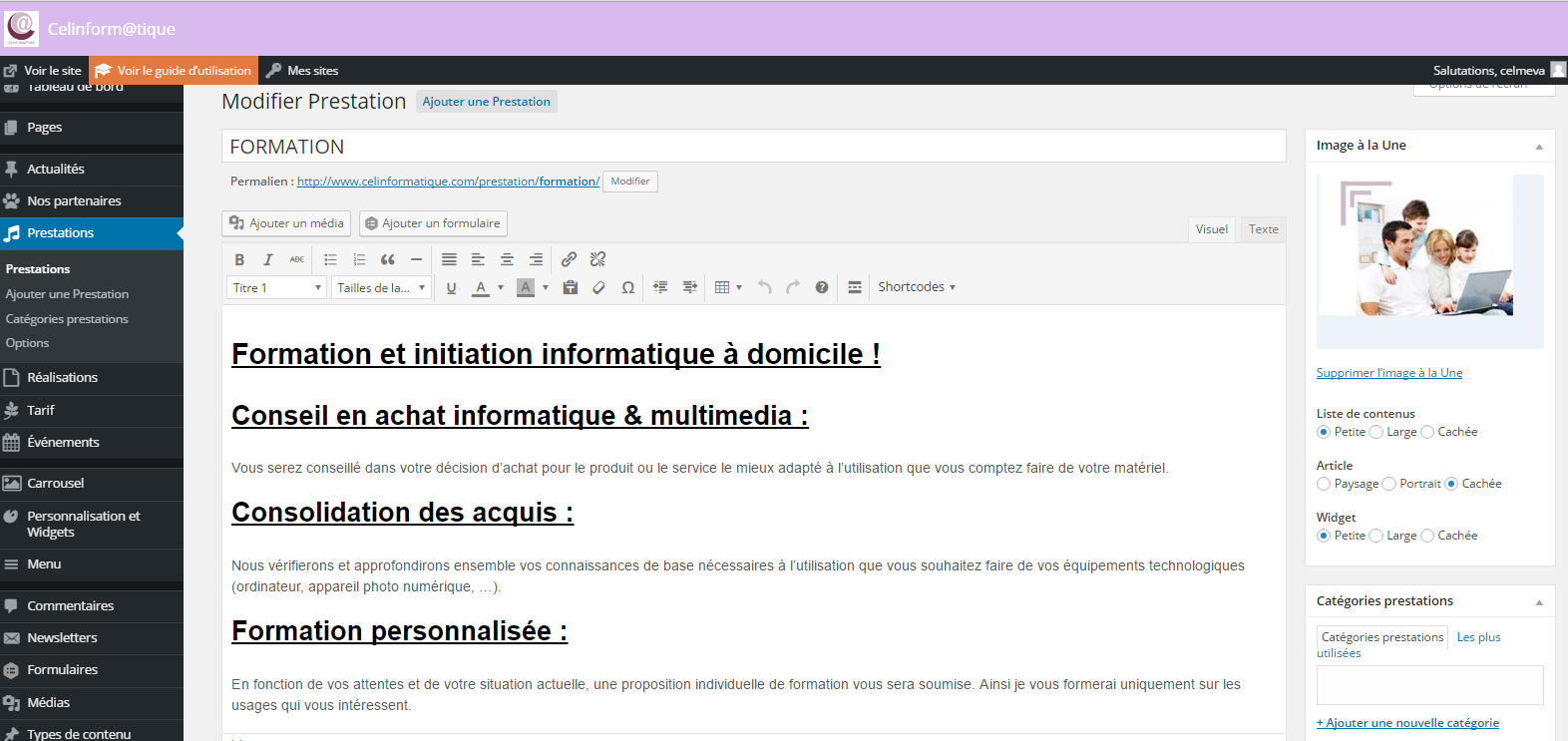 avantages creation site internet Description d'une page en utilisant le format HTLML